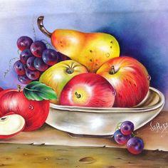 Hola Watercolor Fruit, Fruit Painting, Fabric Painting, Watercolor Paintings, Illusion Drawings, Fruits Drawing, Pallet Wall Art, Oil Pastel Art, Still Life Fruit