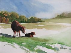 watercolor painting of a mother cow and her calf in a pasture