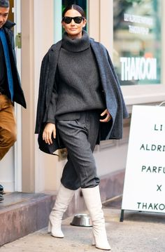 Lo and Rihanna to EmRata and Lily Aldridge, shop 12 celeb boot trends that range from timeless to strikingly bold. White Boots, Lace Up Boots, Saint Laurent Dress, Ombre Leggings, Chanel Boots, Patent Leather Boots, Stiletto Boots, Kendall Jenner Outfits, Victoria Dress