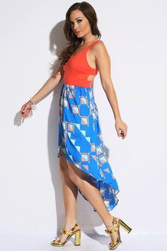 Block Print High Low Dress Orange and blue high low dress with cut out detail on sides! Party dress, cute dress & cut out dress! Cheap Club Dresses, Cheap Dresses Online, Affordable Dresses, Blue High Low Dress, Cute Blue Dresses, Cute Clothes For Women, Cute Cuts, Dress Cuts, Junior Outfits