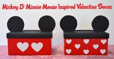 Disney Craft: Mickey and Minnie Mouse Valentine Boxes - fun Valentine's Day Craft!