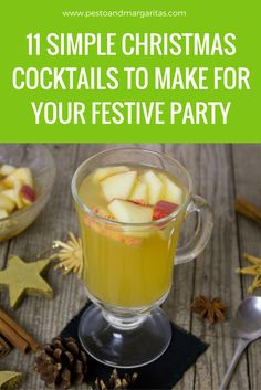 11 Simple Christmas cocktails to help you prepare for your festive parties. Recipes include classics like punch and mulled wine as well as modern twists on cocktails such as the Moscow Mule. There are also Christmas mocktails for the non-alcoholic version Easy Drink Recipes, Sangria Recipes, Yummy Drinks, Cocktail Recipes, Cocktail Food, Winter Cocktails, Easy Cocktails, Classic Cocktails, Vodka Cocktails