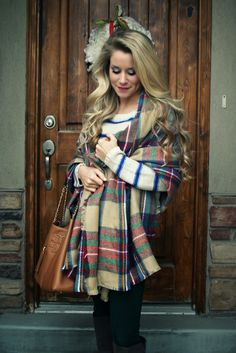 Blanket Scarf and Can I have her hair? Plaid Outfits, Cute Outfits, Fashion Outfits, Fashion Blogs, Fall Winter Outfits, Autumn Winter Fashion, Winter Style, I Love Fashion, Passion For Fashion