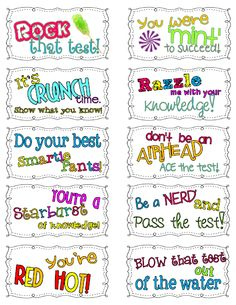 Motivational Candy themed test taking notes! For PASS testing motivation? Too Cool For School, School Fun, School Ideas, School Stuff, High School, Middle School, School Forms, Summer School, School Projects