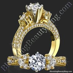 #6ProngGoldDiamondRing #DiamondClusters #UniqueEngagementRing http://www.BloomingBeautyRing.com