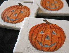 Jack O'Lantern Halloween Coasters