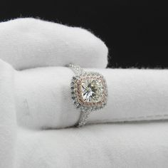 Double Halo Cushion Cut 2ct Moissanite 14K White Gold Pave Pink Accents Ring | eBay