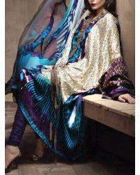 Silver/Turquoise/Indigo Silk Dress