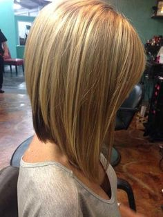 Long Stacked Bob Hairstyle Front And Back View Linehaircut Long