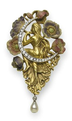 AN ART NOUVEAU DIAMOND, ENAMEL AND PEARL BROOCH   Designed as a seated gold female figure on an old European-cut diamond crescent moon, surrounded by purple, pink and green enamel flowers, suspending a detachable collet-set diamond and freshwater pearl drop, mounted in 18k gold, circa 1900, with French assay mark