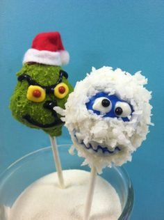Grinch and Abominable Snowman Cake Pops from Candy Valley Cake Company (photo found here: https://www.facebook.com/photo.php?fbid=10150507397907534&set=pu.303781337533&type=1&theater)