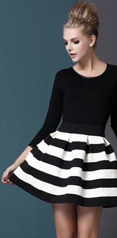 Black + white striped skirt // bold
