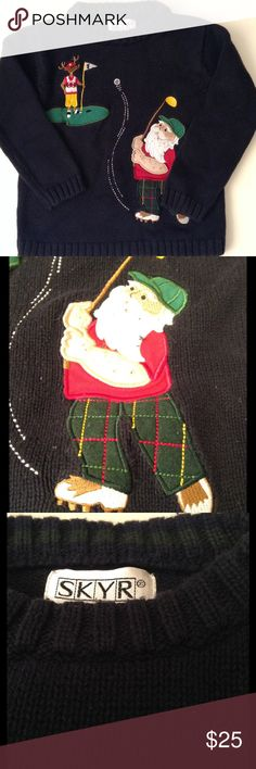 Vintage Kids SKYR Christmas Sweater 4 Navy Blue Vintage Kids sweater -SKYR Ugly Christmas Sweater- Reindeer and Santa Golfing : Size 4T in EUVC No rips, holes, stains. Boy or Girl could wear this IMO. Vintage Shirts & Tops