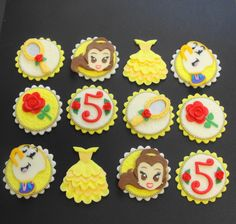 Princess Cupcake Toppers, Fondant Cupcake Toppers, Princess Dress, Edible, Birthday, Edible Princess Fondant Cupcake Toppers by CherryBayCakes on Etsy