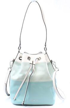 a968ccacb MICHAEL Michael Kors Womens Dottie Leather Colorblock Bucket Handbag Blue  Large
