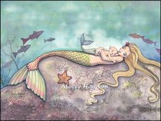 Mermaid Lullaby Mother and Baby Mermaids Fine by MollyHarrisonArt, $27.50