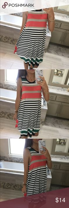 Stripe T-Shirt Dress Stripe sleeveless t-shirt dress. Super comfortable and perfect for spring. Dresses