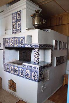 kachelöfen (masonary heater + cook stove) + gzhel tile   interior design + decorating ideas