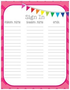 In Sheet for Open House, Back to School Night or Parent Night {in chevron} FREE sign in sheet for back to school night, open house or parent night.FREE sign in sheet for back to school night, open house or parent night. Back To School Night, 1st Day Of School, Beginning Of The School Year, Preschool Open Houses, Open House Night, 4th Grade Classroom, Classroom Ideas, Classroom Charts, Classroom Organization