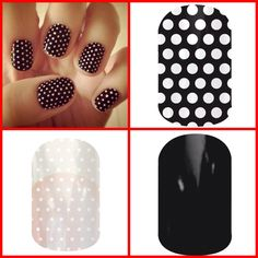 Black & White Polka Dot, Darkest Black, and White & Clear Polka Dot  http://jillwaring.jamberrynails.net