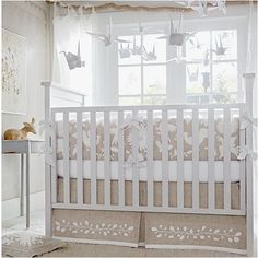 Design Chic: Gender Neutral Nurseries...cute swans but it'd need to be BRIGHTER!