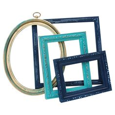 Set of four upcycled and hand-painted open-back frames.   Product: 4 Piece frame setConstruction Material: Wood a...