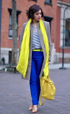 Crew scarf and belt / alexander wang bag / zara coat, shirt and shoes / e Yellow Pants Outfit, Yellow Shoes, Yellow Dress, Mustard Yellow Pants, Blue Jeans, Blue Skinnies, Cool Winter, Yellow Accessories, Business Outfits Women