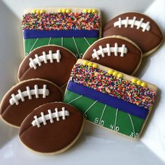 """Football Cookies...next year for OSU, only use just scarlet &grey sprinkles for the """"fans"""" ...and get rid of that HIDEOUS blue stripe above the field!"""