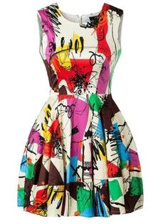 Shop Color Block Graffiti Print Dress from choies.com .Free shipping Worldwide.$19.9