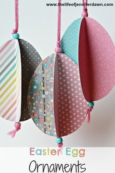 Decorate with these Easter Egg Ornaments that your kids can help create. Visit www.thelifeofjenniferdawn.com