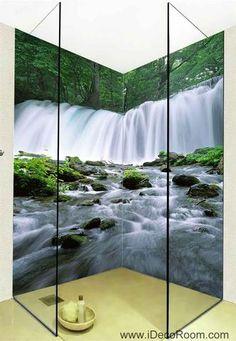 3D Wallpaper Forest Fall Brook Tree Wall Murals Bathroom Decals Wall Art Print Home Office Decor