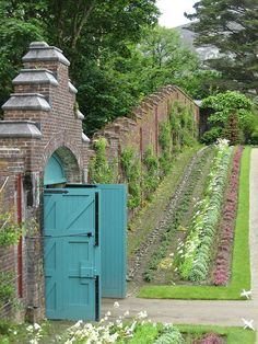 Walled kitchen garden at Kylemore, Connemara, County Galway, Ireland Garden Doors, Garden Gates, Portal, Gray Garden, Victorian Gardens, Victorian Era, To Infinity And Beyond, My Secret Garden, Parcs