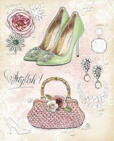 Fashion Illustration for Decoupage Decoupage Vintage, Vintage Diy, Images Vintage, Decoupage Paper, Vintage Cards, Vintage Posters, Decoupage Shoes, Chad Barrett, Fashion Art