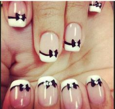 Bow Sparkle French Manicure