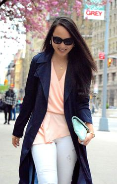 {Spring Weekends} Zara Navy Draped Trench, Piperlime Asymmetric Top, White Denim, Mint Clutch, Burberry Cateye Sunglasses
