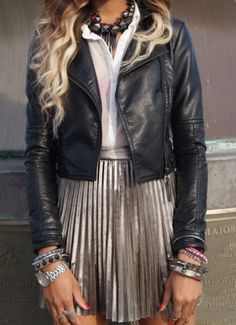 Metallic and leather #style #fashion #winter #rockstar #chic #accessories