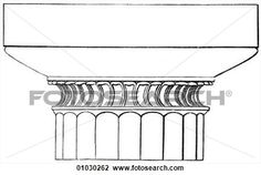 "Architecture - Ancient Greece - line art Detail Classical Doric Capital (The head of a pillar or column) from the Temple of Theseus, Athens. The Doric style or ""order"" of architecture is the oldest, simplest and sturdiest of Greek architecture. horizo View Large Illustration"
