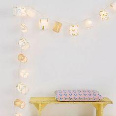 Guirlande lumineuse enfant #Mimilou - Guirlande lumineuse originale en papier doré - Guirlande lampions