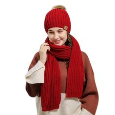 Winter Warm Knitted Women Fashion Scarf and Beanie Hat Set - Red - -. Winter Warm Knitted Women Fashion Scarf and Beanie Hat Set – Red – – Scarves & Wr Hat And Scarf Sets, Scarf Hat, Beanie Hats, Slouchy Beanie, Winter Outfits, Crochet Winter, Scarf Styles, Knitted Hats, Hat Crochet