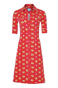Tante betsy dress: Betsy Red Nice Dresses, Dresses For Work, King Louie, Button Down Dress, Modern Fashion, Dress Outfits, Style Me, Long Shirts, Short Sleeve Dresses