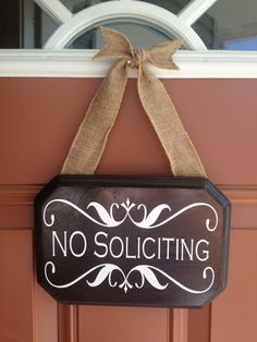 Hanging Dark Walnut No Soliciting Sign with by BlueMasonBoutique, $28.50