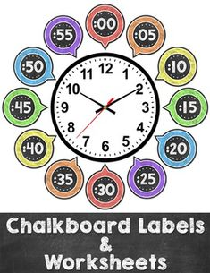 by Pink Cat Studio Classroom Clock, Classroom Displays, Classroom Themes, Classroom Design, Free Kindergarten Worksheets, School Worksheets, Math Activities, Teaching Clock, Teaching Time