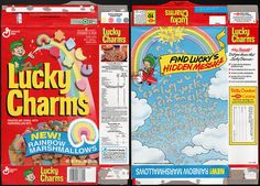 General mills cereal boxes | General Mills - Lucky Charms - New Rainbow Marshmallows - cereal box ...