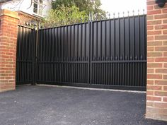 black metal fence gate privacy - Google Search