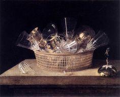 STOSKOPFF, Sébastien (b. 1597, Strasbourg, d. 1657, Idstein) - Still-Life of Glasses in a Basket, 1644 - Oil on canvas, 52 x 63 cm Musée de l'Oeuvre de Notre Dame, Strasbourg