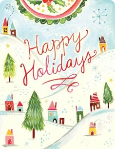 Madison Park Greetings Winter Town Holiday Card, A Greeting Card Association LOUIE Award Finalist! Art by Katie Daisy.