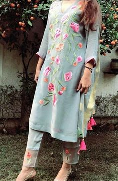 Grey cotton silk perfect work for summers punjabi suit