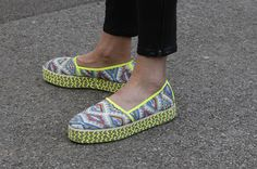 wgsn:  Espadrilles need not be simple as discovered at #LFW #SS15 with tons of print and a little neon trim.