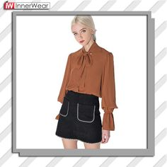 Women Summer Bow Lantern Sleeve Solid Girl Shirts Blouses Loose Casual Tops................................  Price : $21.21