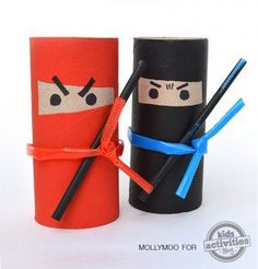 Toilet Roll Ninjas - Toilet Paper Roll Crafts For Kids Fun Crafts For Kids, Craft Activities For Kids, Summer Crafts, Creative Crafts, Projects For Kids, Diy For Kids, Crafts To Make, Cool Kids, Arts And Crafts